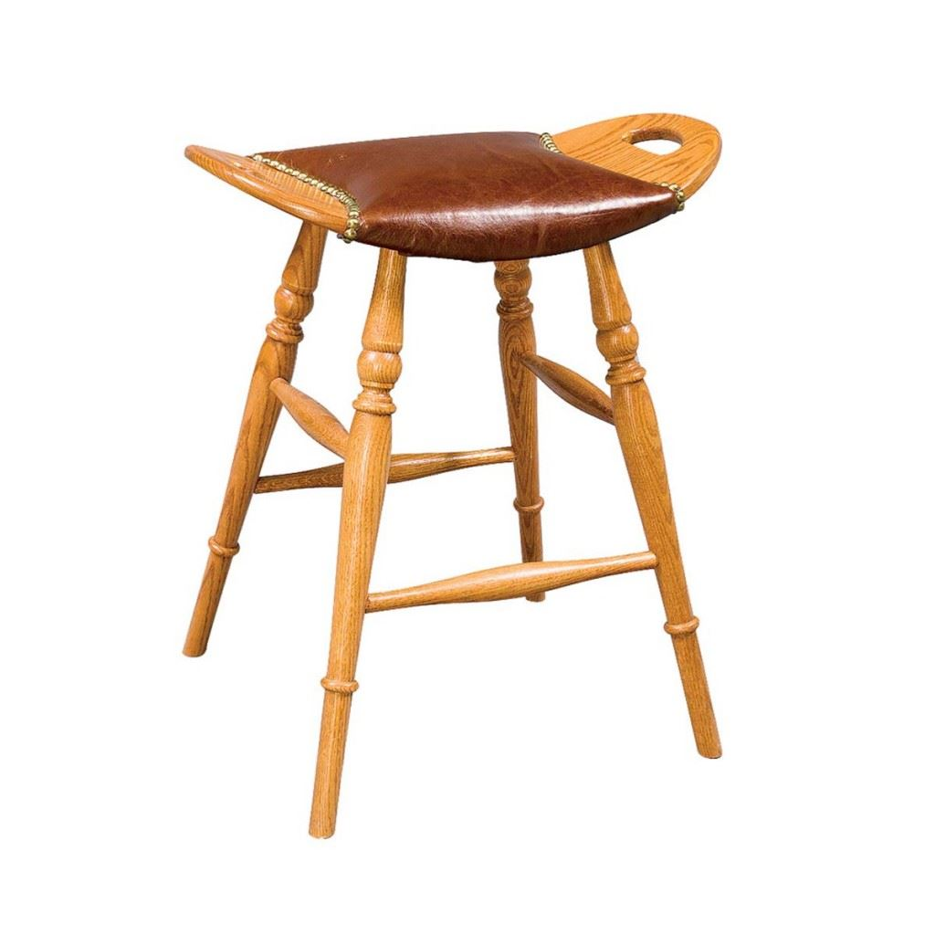 Saddle Leather Seat Bar Stool