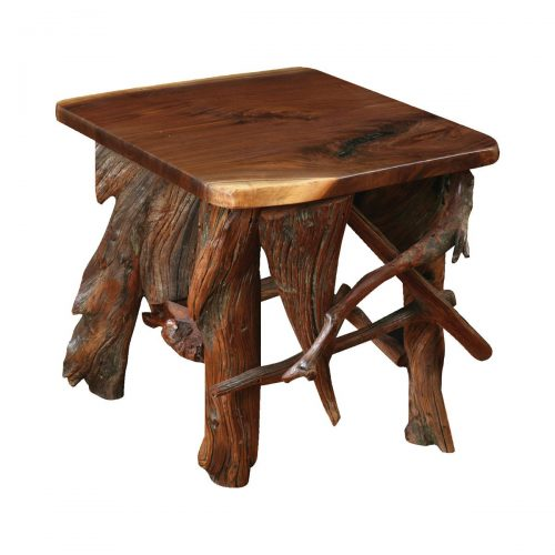 Rustic Log End Table