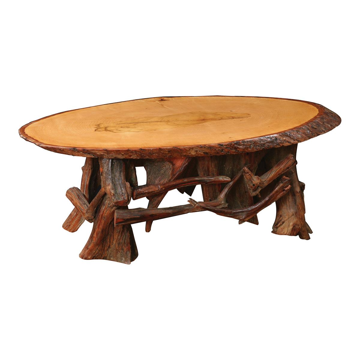 - Rustic Log Oval Coffee Table King Dinettes