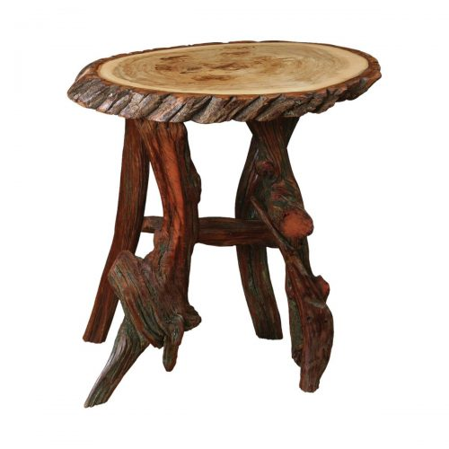 Rustic Log Oval End Table
