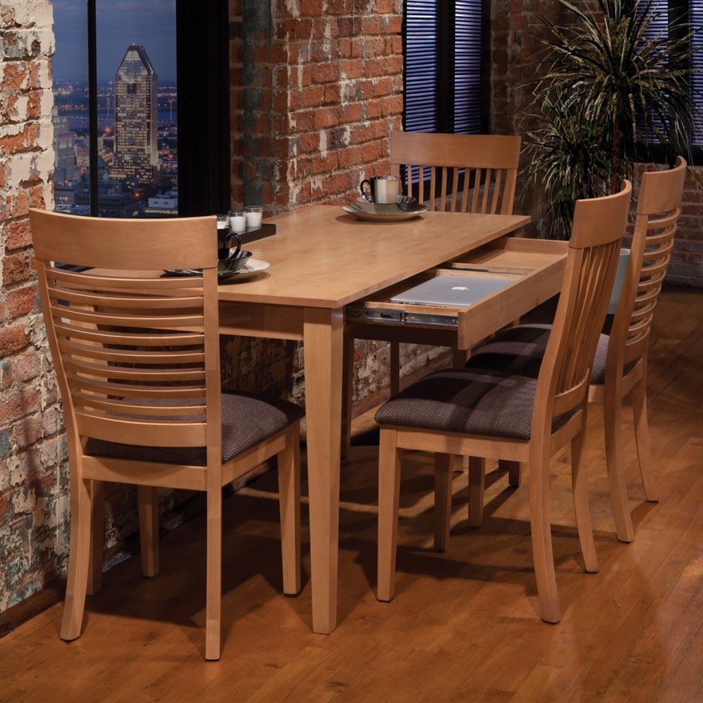Narrow Dining Set With Drawer