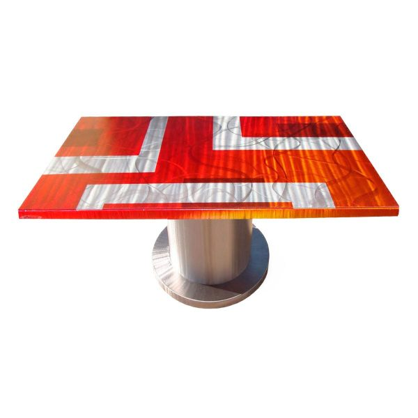 84 Inches Rectangle Dining Table with Round Pedestal