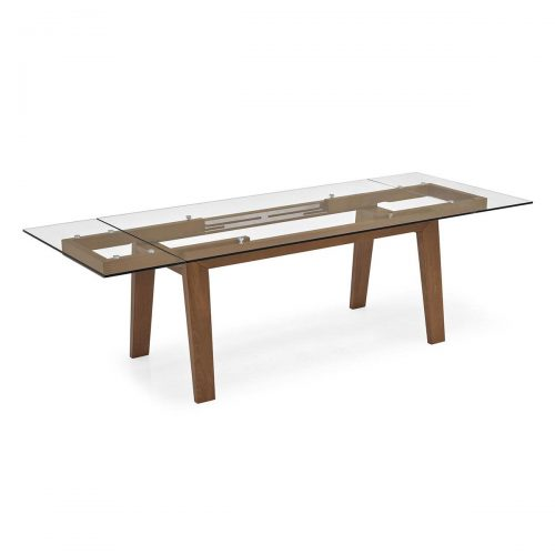 Maestro Glass and Wood Extending Table