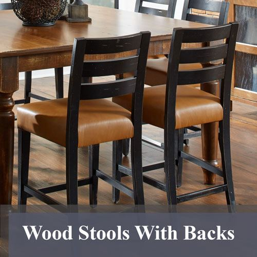 Wood Stools With Backs