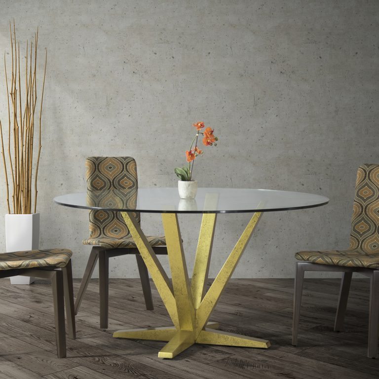 Aura Glass Top Dining Table Setting