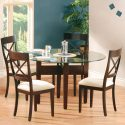 54 Inch Round Glass Top Dining Set