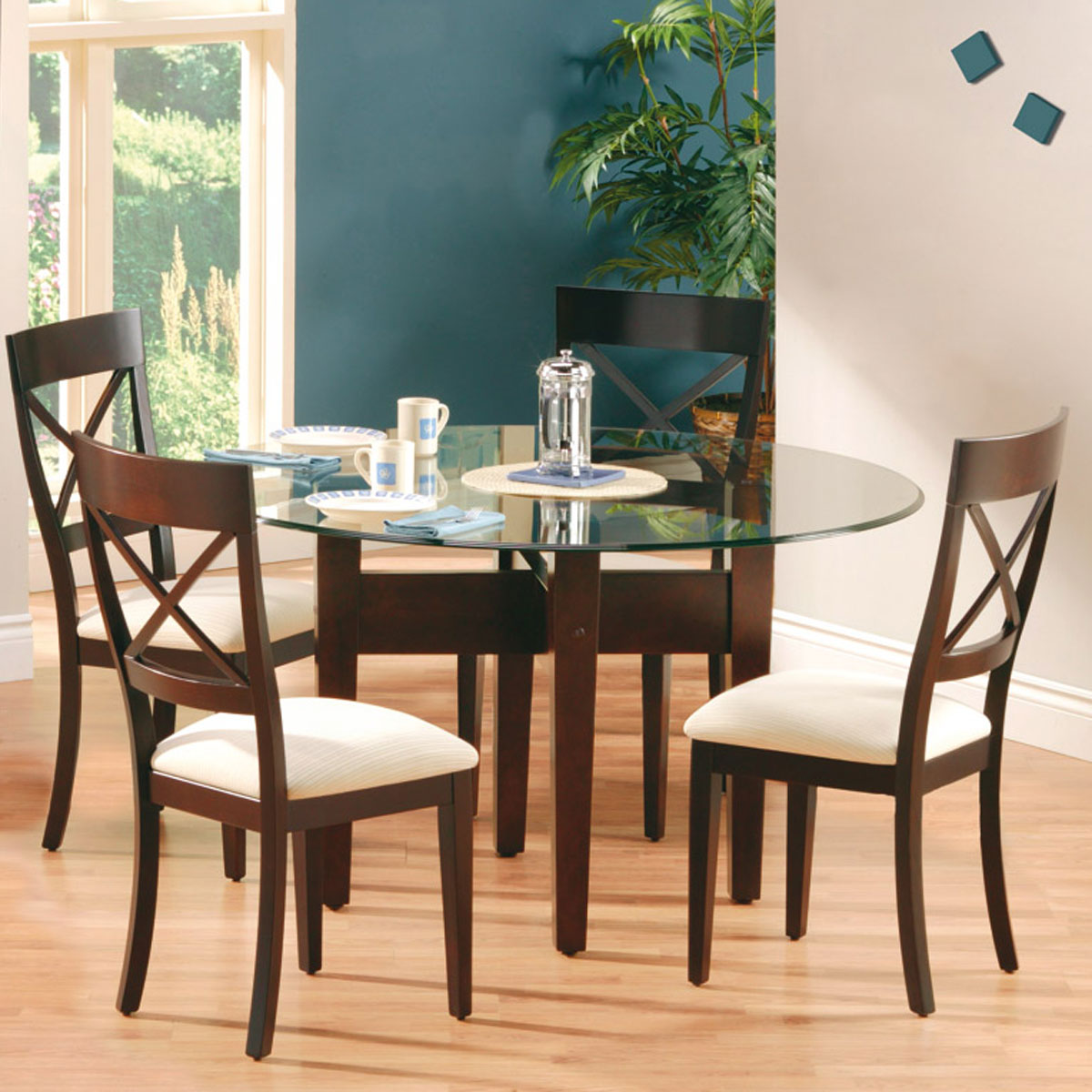 54 Inch Round Glass Top Dining Set Bermex King Dinettes