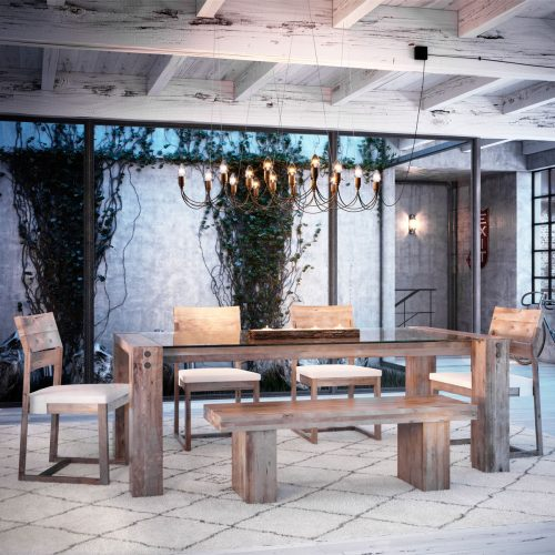 Loft Rectangle Glass Top Dining Set