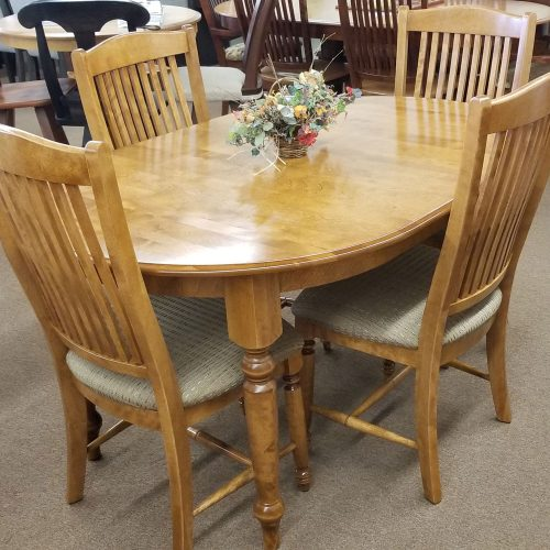 Oval Solid Birch Dining Set